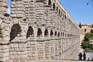 The Roman Aqueduct in Segovia has become the symbol of the city.