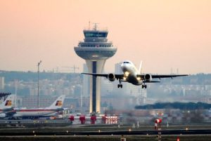 Landing at Madrid Airport