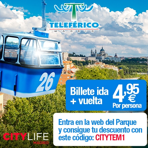 """<span style=""""color:red;"""">Only 4,95€ for you and your friends</span><br />Teleférico Madrid: See Madrid from a bird's eye view!"""